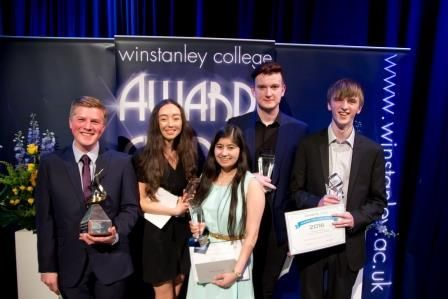 Keir Martland, Maddy Walls, Manisha Sitpura, Ben Lucas and Michael Barr who all received awards at Winstanley College's Annual Award ceremony