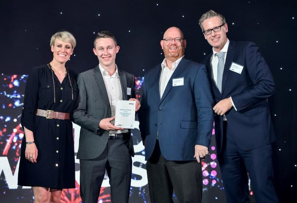 (L-R) BTEC Awards presenter and BBC Journalist Steph McGovern; Barnsley College Apprentice Callum Savage; college Principal Christopher Webb; and James Emmett, Director of Strategic Relationships at Pearson UK