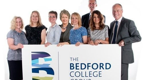 Ian Pryce CBE (right) with the Bedford College Group team