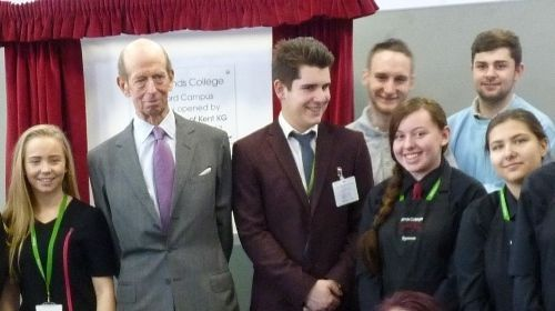 HRH the Duke of Kent with Brooklands College students