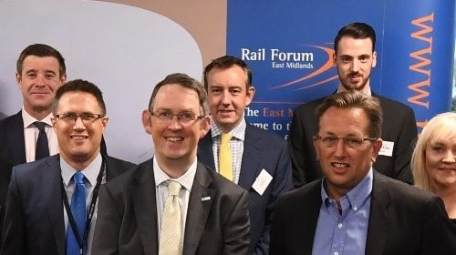 Rail Minister Paul Maynard MP (front centre) with representatives from Derby College and Rail Forum East Midlands