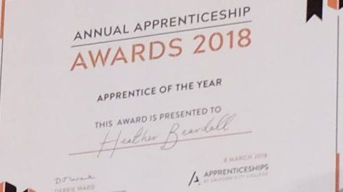 Debbie Ward, Head of Apprenticeships and Partnerships and Paul Dennett, City Mayor presenting an award to Heather Beardall, Apprentice of the Year