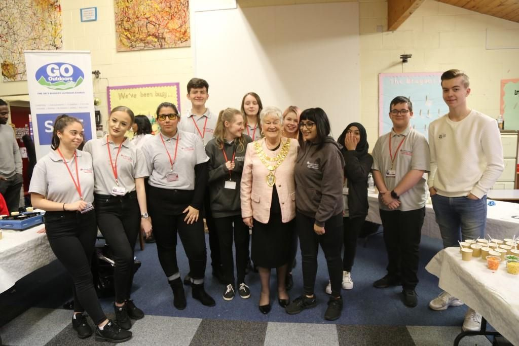 Students with Mayor of Solihull, Cllr Florence Nash