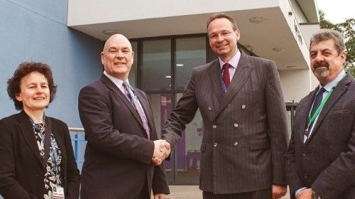 (L-R) Solihull College & University Centre Deputy Principal Lindsey Stewart, Principal and CE John Callaghan, Stratford-upon-Avon College Principal and CE Andrew Cropley, with college governor Ian Lumley
