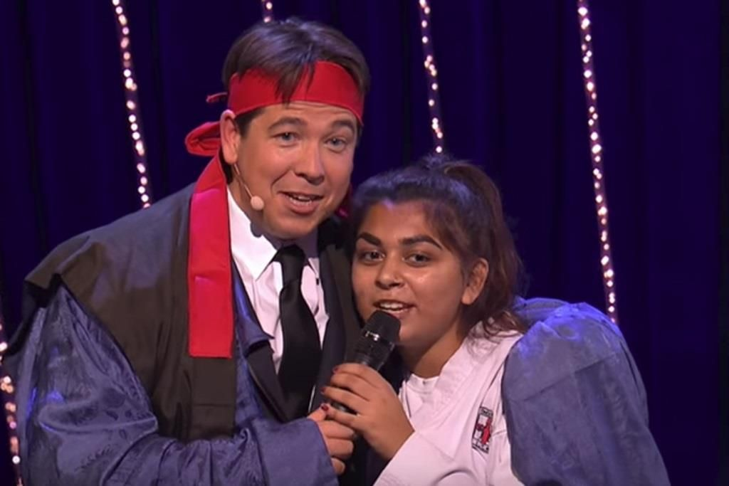 Sanjna Vekaria with Michael McIntyre