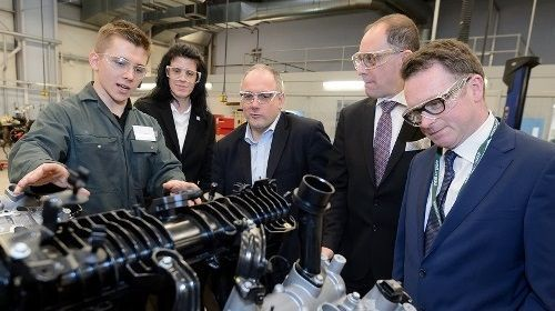 L-R Alex Clark, Jaguar Land Rover apprentice, Angela Joyce, Group Principal and CEO at WCG, Robert Halfon MP, Jo Lopes, Head of Technical Excellence at Jaguar Land Rover, Chris White MP
