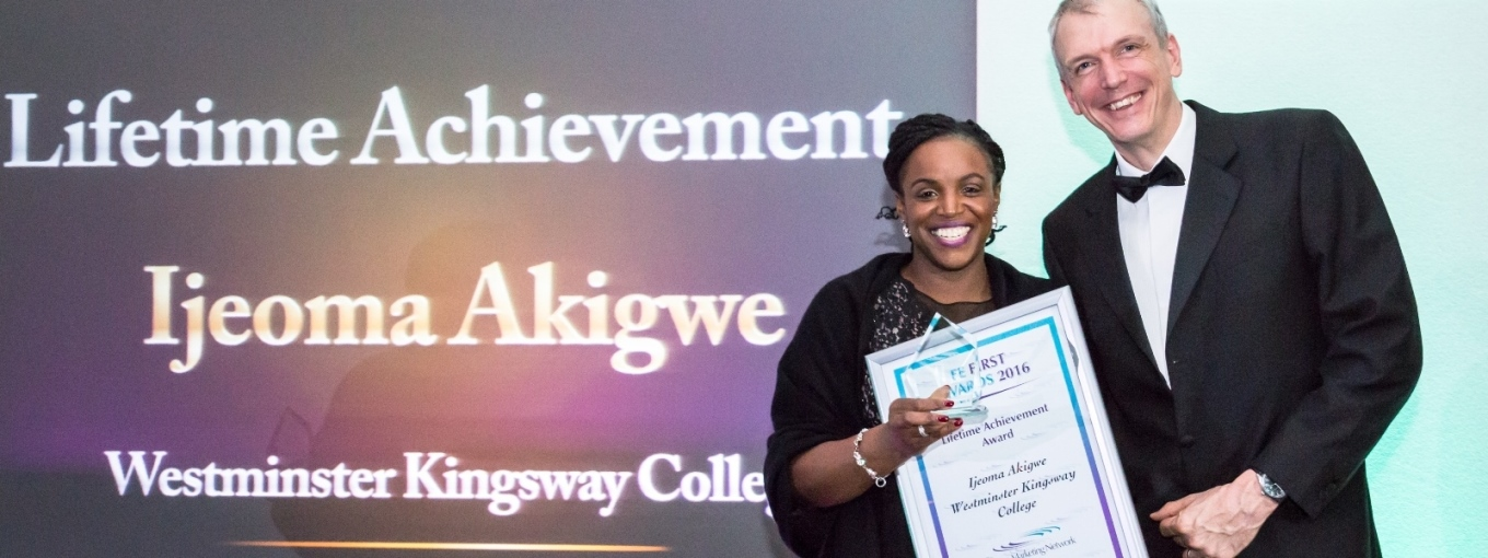 Ijeoma Akigwe, winner of the College Marketing Network's  Lifetime Achievement Award for 2016