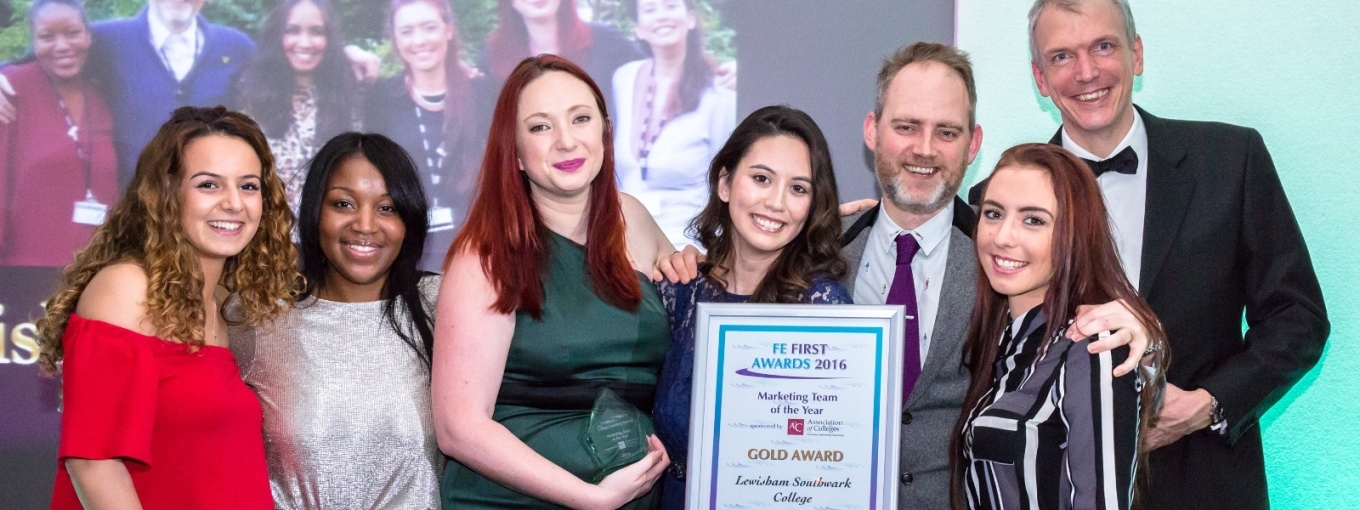The Lewisham Southwark marketing team receive their Team of the Year Award at the College Marketing Network's FE First Awards 2016